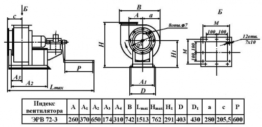 Электроручной вентилятор ЭРВ 72-2, ЭРВ-72-3